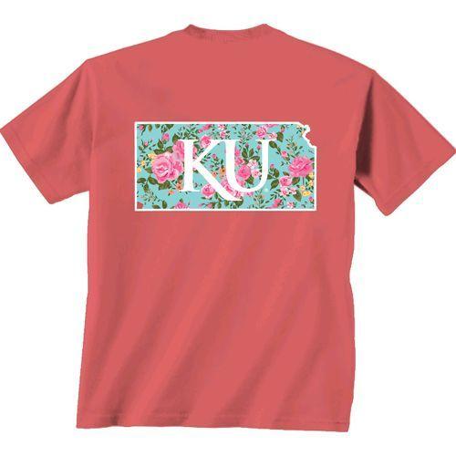 New World Graphics Women's University of Kansas Floral T-shirt