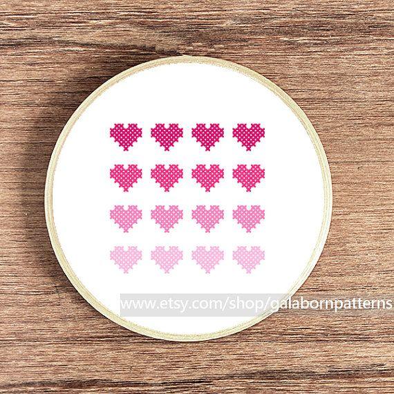 Hearts pink - PDF Counted cross stitch pattern - Modern cross stitch