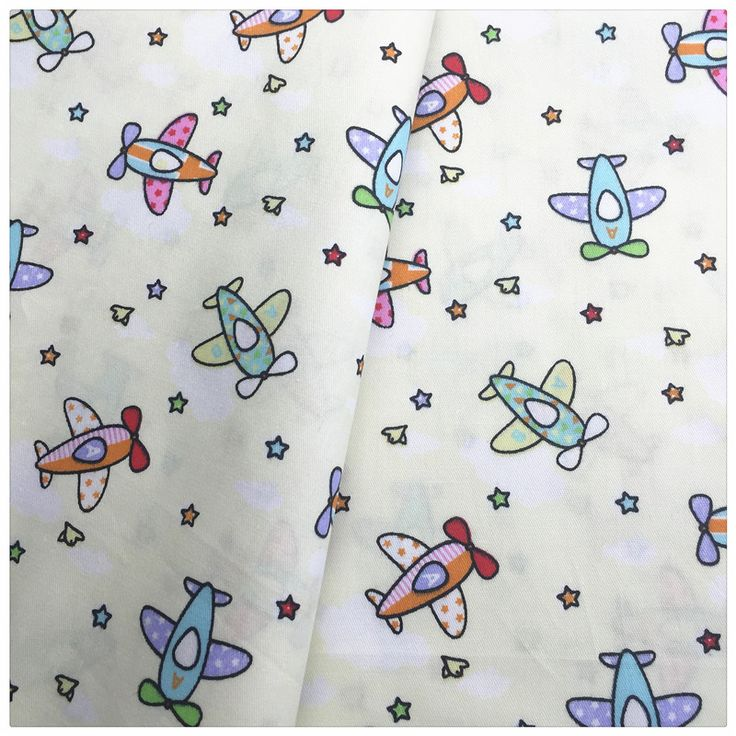 Cartoon Plane Printed Cotton Fabric Meter for Home Textile Baby quilts Cushions Diy Sewing Fabric Material Telas to Patchwork #Affiliate