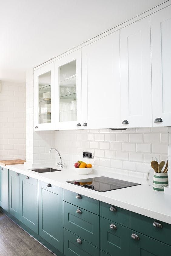 The Kitchen Cabinet Color I'm Obsessed With | Apartment Therapy  | white on top, color on bottom