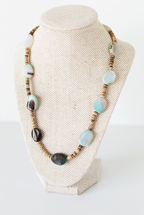 Eco Friendly Coconut Shell Necklace  with by JeniandPatsBeadHive