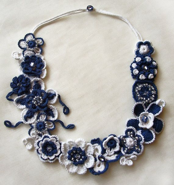 Crochet necklace, Statement necklace, Blue and white necklace, Flower crochet; Irish crochet, Free form crochet, Floral crochet jewelry