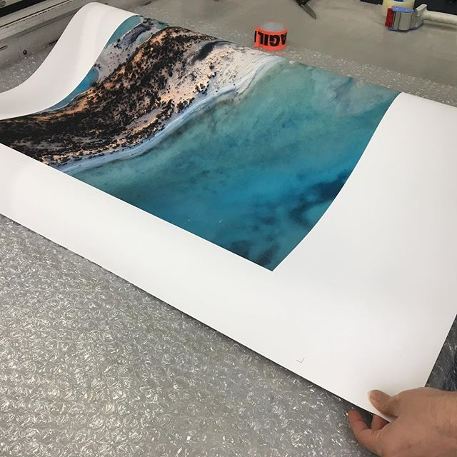 Fresh off the press. One of our giclee photographic rag prints is almost ready to be shipped to a client.  #artprint #art #photography #print #aerial