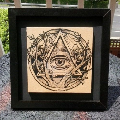 Illuminati Eye Framed and Mounted Wood by 6DistressedMemories9