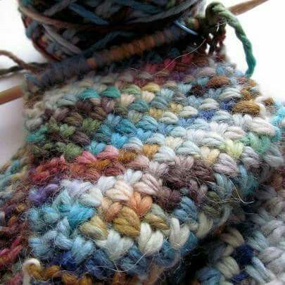 Chunky  cross stich knitting.