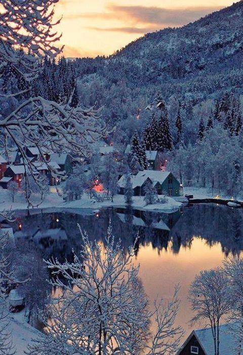 Beautiful Snowy Village, Norway.