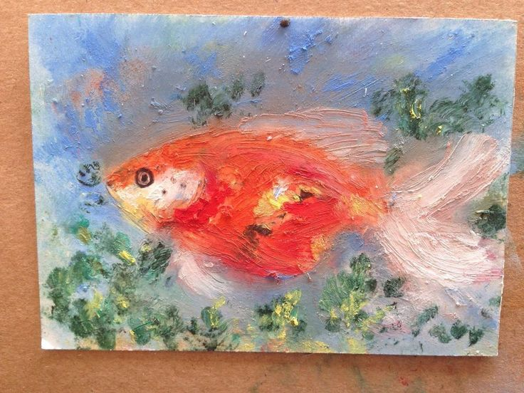 Aceo atc original goldfish fish koi pond animal oil by for Original koi fish