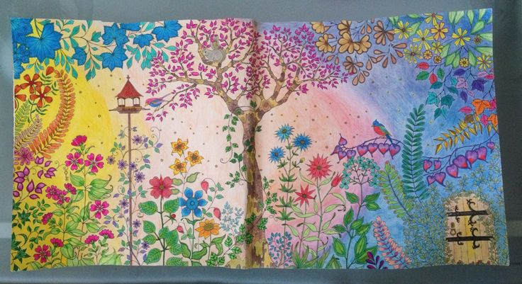 Yay!! Finally done with the first page of the Secret Garden coloring book by Johanna Basford