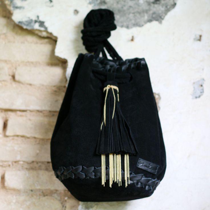 Leather Suede Black Bag - Bucket bag with Long Tassel and Golden Metalic Chain - Pouch - Backpack - Shoulder Bag - Drawstring Pouch by EleannaKatsira on Etsy