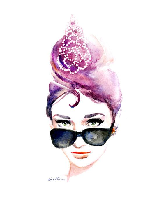 Audrey Hepburns iconic  sunglasses - Print of Original watercolor