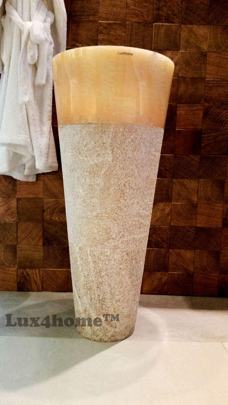 Pedstal Onyx sink. Model Pedesta Hammered Onix - Lux4home™. 40x40x90 cm. Natural Bathrooms.
