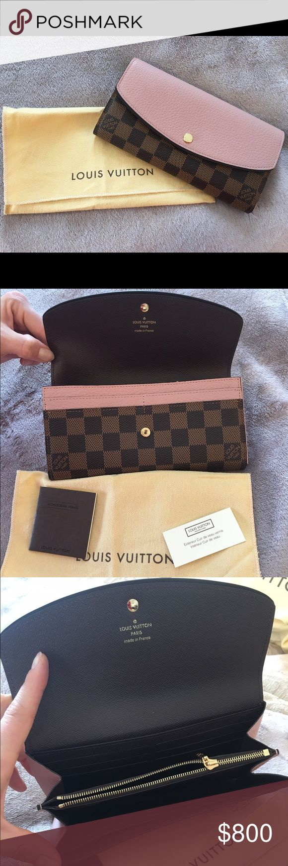 """Louis Vuitton AUTHENTIC Monogram Wallet AUTHENTIC EXCELLENT LIKE NEW CONDITION. NO WEAR or STAINS. Brown monogram checkered leather material accented with Rose Pink leather gold buttons 16 credit card slots center zipper coin pocket inside of wallet there is a """"hidden"""" back slip pocket. Dust bag and original tags INCLUDED. Fair offers considered via offer button. Thank you cross posted Louis Vuitton Bags Wallets"""