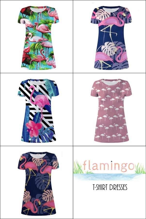 72b6e227 Women's Pink Flamingo Print Summer T-Shirt Dress #flamingos #flamingoprint  #dress #womensdress #womenswear #summerfashion