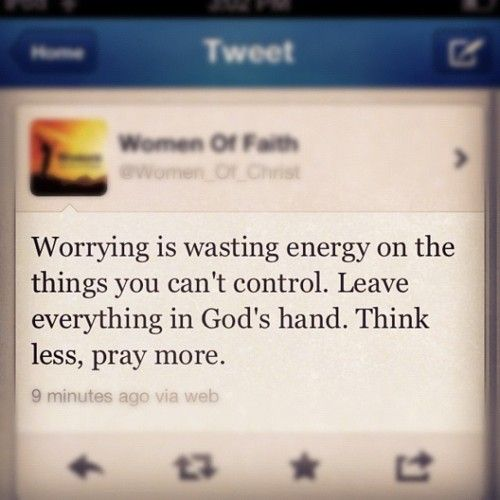"Who of you by worrying can add a single hour to his life? Matthew 6:27, NIV.    Is there something that you are worrying about today? To worry means to allow something to revolve in your mind over and over again. God doesn't want you to live worried or anxious about anything. He knows that worry steals your peace and joy. It affects every area of your life. Have you heard the saying, ""Don't worry yourself sick?"""