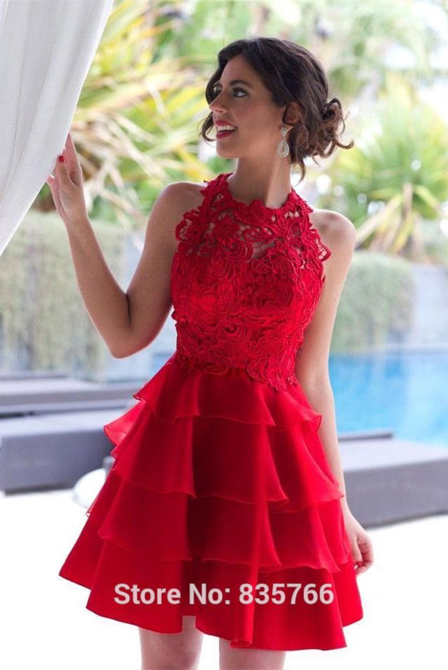 Kırmızı Dantel Kısa Mezuniyet Elbisesi 2016 Homecoming Elbiseleri Kısa sınıf 8 mezuniyet elbiseleri
