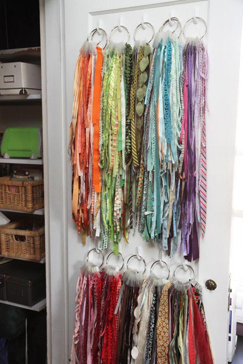DIY Ribbon Storage : broken link but photo says it all... command hooks + binder rings = organized ribbons!