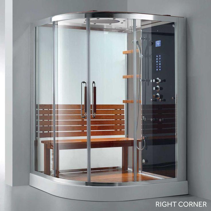 "59"" x 59"" Frewin Corner Steam Shower Enclosure - Polished Aluminum - Right"