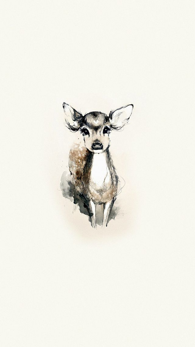 Tiny Cute Deer Illustration Art #iPhone #5s #wallpaper | iPhone 5~SE Wallpapers | Deer art, Deer ...