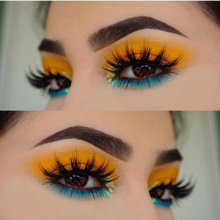 Tropisches Make-up, blauer und gelber Lidschatten …