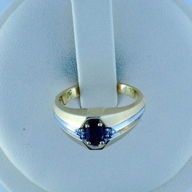 """14k two-tone men's sapphire  & diamond ring,7 grams,size 10 1/4"""";6 x 4 mm oval sapphire; Gift for him, Sept. birthstone, 10th wedding anniv. by MutyaGallery on Etsy https://www.etsy.com/listing/201429875/14k-two-tone-mens-sapphire-diamond-ring7"""