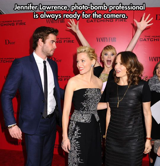 Photobomb level: Jennifer Lawrence  // funny pictures - funny photos - funny images - funny pics - funny quotes - #lol #humor #funnypictures