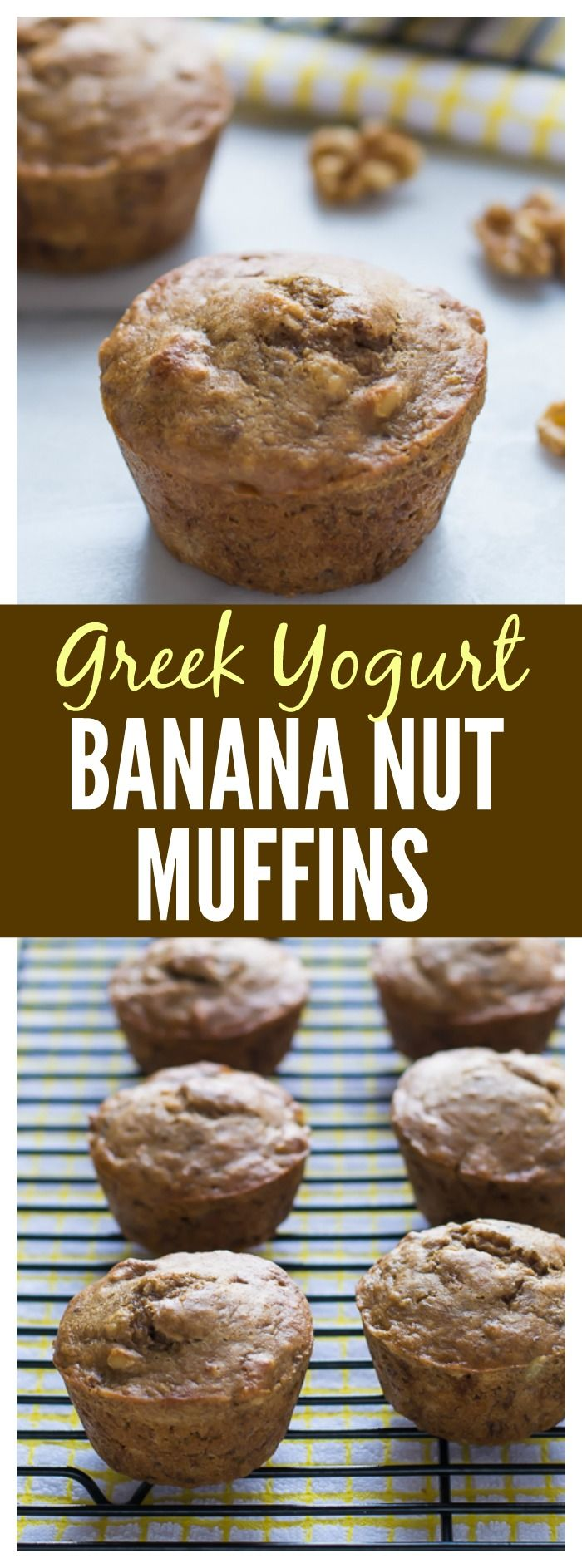Greek Yogurt Banana Nut Muffins. Wholesome healthy banana muffins made with whole wheat flour and naturally sweetened with maple syrup. #healthybananamuffins #banananutmuffins #muffins