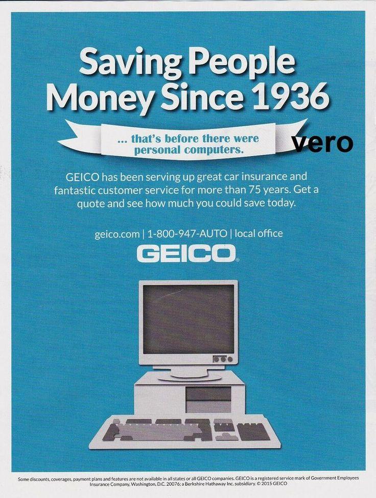 GEICO gecko insurance ad art 2015 magazine print COMPUTER advertisement page