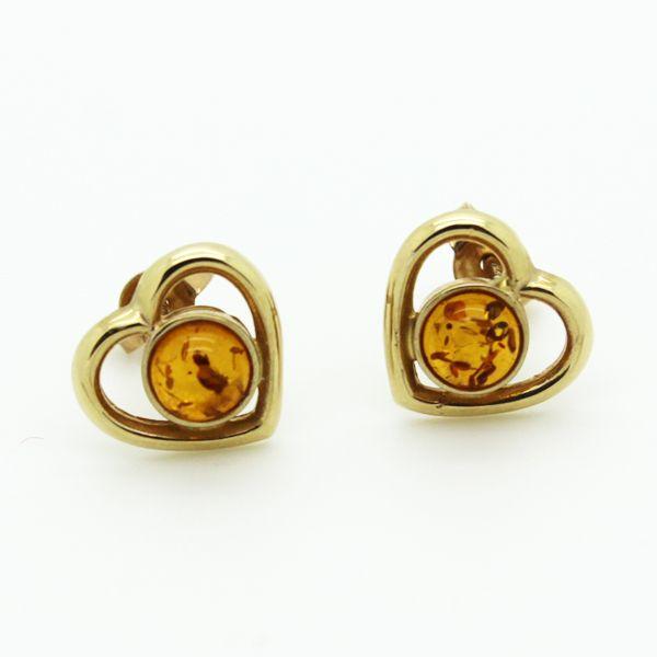 Amber heart earrings in 10 K Gold
