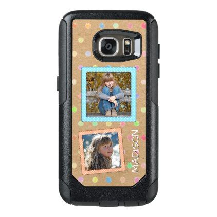 Cute Custom Polkadots Pattern Your Photos Name OtterBox Samsung Galaxy S7 Case - pink gifts style ideas cyo unique