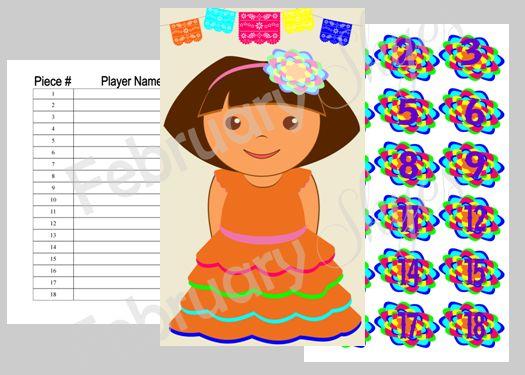 $8.00 Dora and Boots Fiesta Pin the Flower on Dora Game Printable www.februaryskyes.com  #februaryskyes