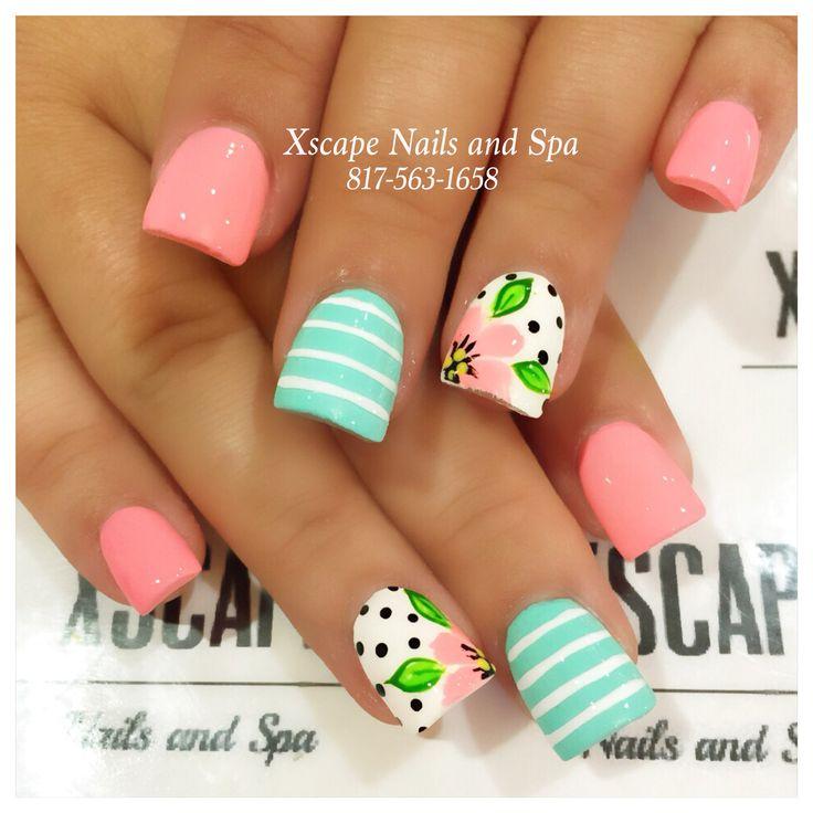 Summer floral nails
