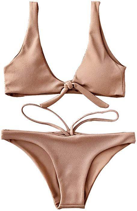 9141637ee10 Amazon.com: ZAFUL Women Two Pieces Swimwear Swimsuit Knotted Padded ...