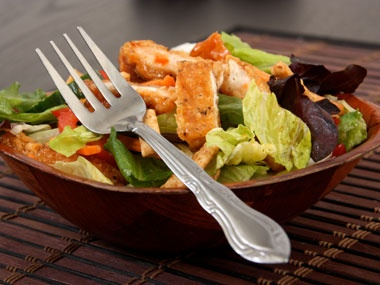 Fast Food Reality Check: Crispy Chicken in the Salad.  At McDonald's, some of those salads have about as many calories as a Big Mac. In fact, a small order of french fries contains four fewer grams of fat than a packet of our ranch dressing.