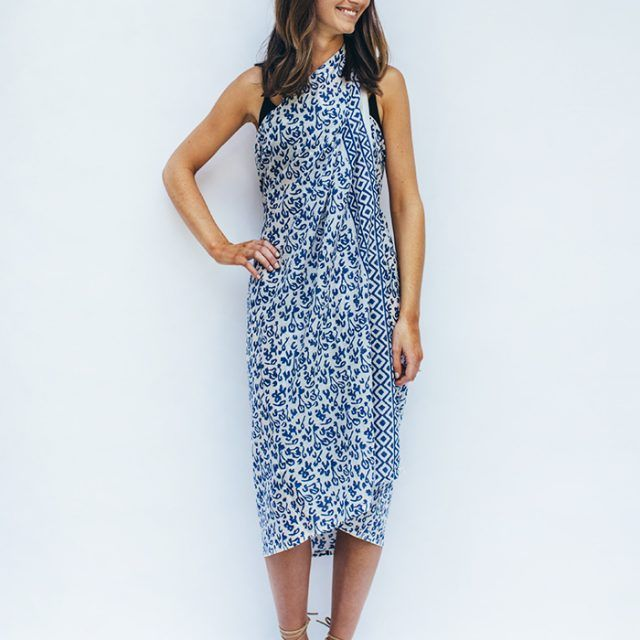ABSTRACT TRIBAL BLUE COTTON SARONG styled
