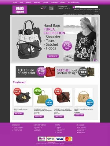 "Bags Store OpenCart Theme Template is specially designed for Woman`s and Man`s Handbags. There are Cross Body, Shoulder Bags, Totes, Satchel, Clutches, Hobos, Checkbook Wallets. Garmonical colors combination of black and violet. Accordion Slogan ""Best decorate our store are our products"". It is very nice with its clean and professional look."