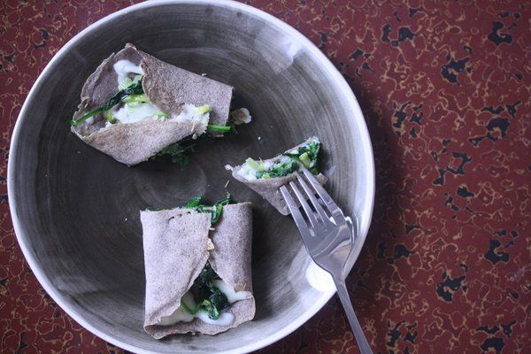 Buckwheat crepes with greens and gruyere | Yummy Lunches | Pinterest