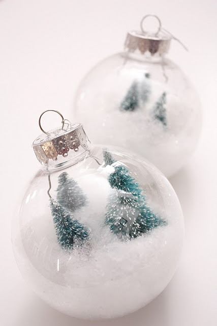 Ornaments made using bottle brush trees faux snow for Bottle brush christmas tree decorations