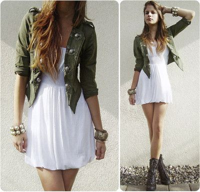 make a feminine white dress more edgy with a military jacket and combat boots