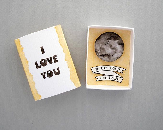 I love you to the moon and back, matchbox card, love mail, love card, matchbox art, message box, boyfriend girlfriend gift, anniversary gift
