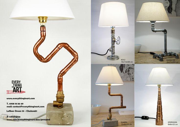 Φωτιστικά από υδραυλικά εξαρτήματα - χάλκινα - ορειχάλκινα - γαλβανιζέ Διαθέσιμα στο www.everythinginart.com