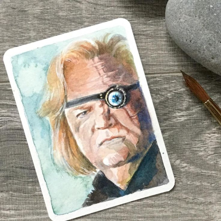 """80 Likes, 9 Comments - Christy Obalek (@christyobalek) on Instagram: """"Daily painting #47 is #alastormoody ... an itty bitty #potterportrait Watercolour 2.5"""" x 3.5"""". .…"""""""