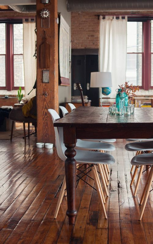 Eames DSWs with turned legs dining table