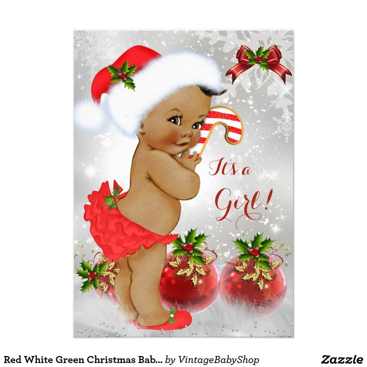 Red White Green Christmas Baby Shower Girl Ethnic 5x7 Paper Invitation Card