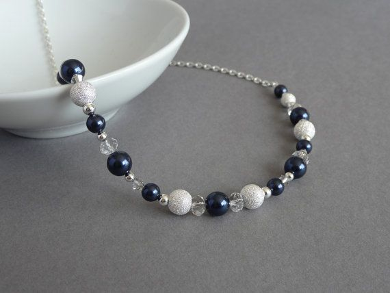 Navy Stardust Necklace - Bridesmaid Jewelry - Dark Blue Pearl, Silver and Crystal Necklace - Midnight Blue Wedding Accessories