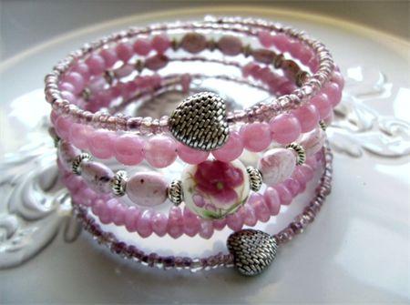 pink tone roses bead memory wire bracelet wraps around 5 times bracelets