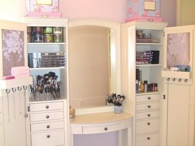 organized makeup table with storage baileys room