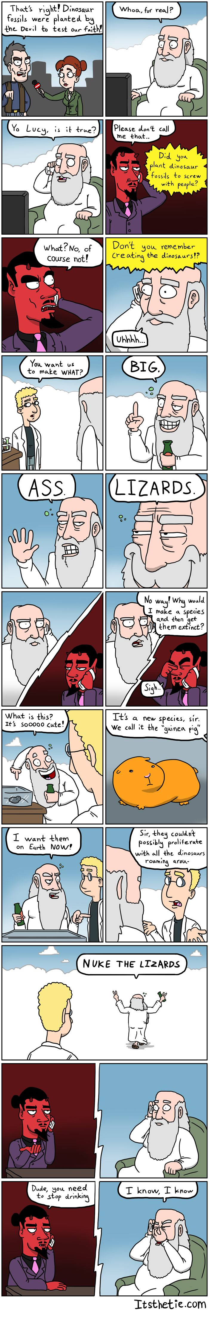 God vs Satan. Dinosaur Edition.