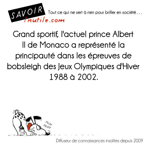 Grand sportif, l'actuel prince Albert II de Monaco a représenté la principauté dans les épreuves de bobsleigh des Jeux Olympiques d'Hiver 1988 à 2002.