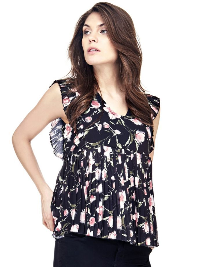 EUR69.90$  Buy here - http://viwpb.justgood.pw/vig/item.php?t=gcta0wo15700 - PLEATED FLORAL TOP EUR69.90$