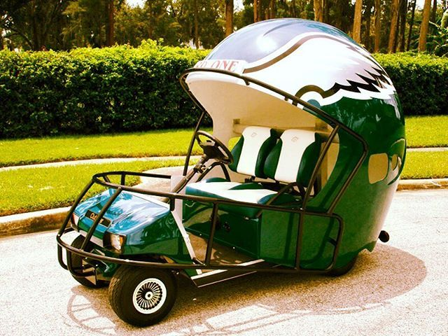 Philadelphia Eagles Golf Cart. Great memory from attending Eagles games as a tike. E-A-G-L-E-S!!!  #philadelphiaeagles #philadelphia #eagles #nfl #golfcart #footballhelmet #flyeaglesfly #victory #teamwork #whosereadyforsomefootball